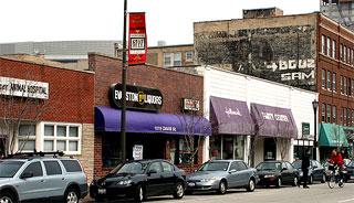 Storefronts in the 1000 block of Davis