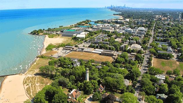 aerial-evanston-lakefront-nu-campus